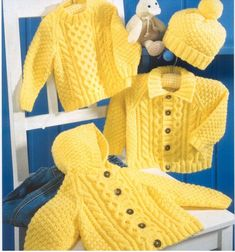 PDF Digital Baby Childrens Aran Cable Hooded Jacket Collared Jacket and Sweater in DK 8 ply 16 to 26