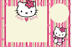 Hello Kitty With Flowers: Free Printable Invitations. - Oh with regard to Hello Kitty Birthday Banner Template Free - Business Template Ideas Hello Kitty Invitation Card, Hello Kitty Birthday Invitations, Invitation Cards, Birthday Cards, Invitation Background, Invitation Ideas, Invitation Templates, Happy Birthday, Hello Kitty Backgrounds