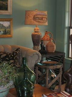 Southern Living 2010 Georgia Idea House -- 'Entertainment Room' -- Living Room -- Sherwin Williams Paint: Privilege Green (SW 6193)