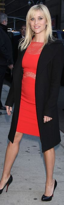 Who made Reese Witherspoon's black coat, red lace dress, jewerly and black pumps that she wore in New York on February 13, 2012?