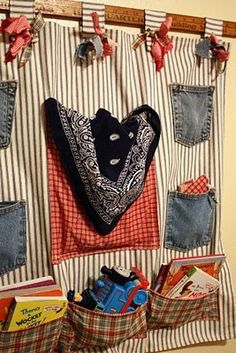 Use pockets from old jeans and make some from bandanas- Create something to hang off his bead to hold all the goodies he insists on taking to bed with him.
