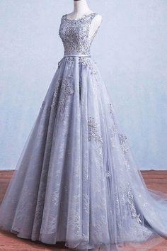 Grey Long Prom Dresses #GreyPromDresses Glamorous Dresses #GlamorousDresses Tulle Ball Gown #TulleBallGown Elegant Dresses #ElegantDresses