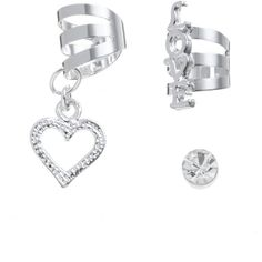 Silver Love Ear Cuff Set ($5.32) ❤ liked on Polyvore