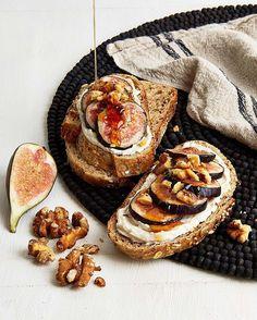 "Fig, Walnut & Vegan Honey Breakfast Tartine from the ""Vegan 101 ..."