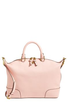 Love the relaxed silhouette of this pink Tory Burch satchel.