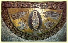 Apse mosaic of the transfiguration of Jesus from St. This apse mosaic dates back to the Justinian the Great period and is recognized as one of the earliest byzantine iconography that still exists today. Early Christian, Christian Art, Saint Catherine's Monastery, Byzantine Architecture, Sainte Catherine, The Transfiguration, Catholic Priest, Catholic Art, Byzantine Art
