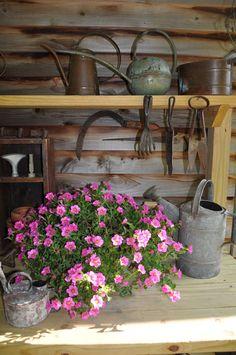 DIY Garden Bench and shed garden design Diy Garden, Dream Garden, Garden Pots, Home And Garden, Garden Sheds, Garden Table, Garden Landscaping, Unique Gardens, Beautiful Gardens