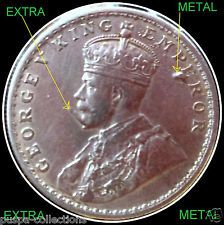 BRITISH INDIA 1911 KING GEORGE V ONE RUPEE COIN WITH EXTRA METAL ON FACE-X RARE