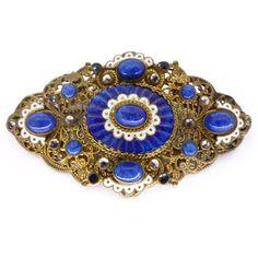 VINTAGE CZECH ENAMEL LAPIS BLUE WAVE GLASS BROOCH PIN