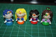 Sailor Mercury, Sailor Venus, Sailor Mars, Sailor Jupiter chibi polymer clay figurines charms