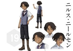 The anime character Nils Nielsen is a teen with to ears length brown hair and brown eyes. Black Characters, Anime Characters, Fictional Characters, Gundam Build Fighters, Mobile Suit, Brown Hair, Teen, Animation, Anime Stuff