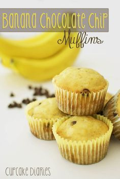 Banana Chocolate Chip Muffins | cupcakediariesblo... I don't know why but these sound awesome