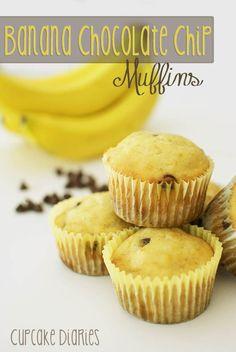 Banana Chocolate Chip Muffins | cupcakediariesblog.com
