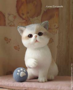 Купить Лёля - разноцветный, котенок, котенок из шерсти, киска, интерьерная игрушка, игрушка ручной работы