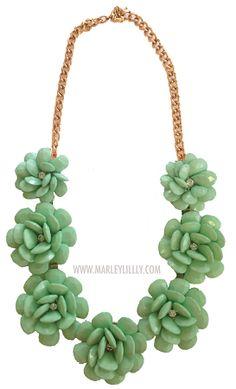 Mint Green Rosette Statement Necklace