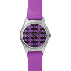 Colorful purple black abstract pattern wristwatch