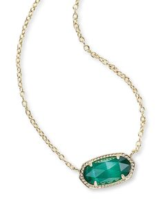 Necklaces Statement Kendra Scott Elisa Necklace - Your favorite jewelry box classic gets a dainty update with Kendra's Elisa pendant necklace! Features a delicate chain with an oval gemstone. Emerald Necklace, Birthstone Necklace, Gold Pendant Necklace, Emerald Jewelry, Eye Necklace, Hanging Necklaces, Girls Necklaces, Jewelry Necklaces, Jewlery