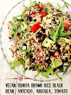 No-Cooking 5-Minute Dish: Quinoa, Brown Rice, Black Beans, Arugula, Avocado, Tomato #vegan
