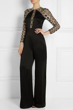 Temperley London|Klara embellished tulle-paneled satin-crepe jumpsuit|NET-A-PORTER.COM