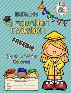 Editable graduation invitations for the kiddos' big day! These invitations come in PowerPoint and PD Graduation Poems, Pre K Graduation, Kindergarten Graduation, Graduation Invitations, Kindergarten Classroom, Free Preschool, Preschool Lessons, Coaching, Teaching Kids
