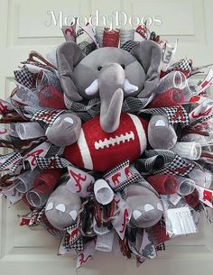 Roll Tide Roll Bama Wreath, Alabama Door Wreath, Alabama Wreath, Bama Door Wreath, Bama Wall Decor, Alabama Sports Wreath Let this so cute and different Bama Wreath add to all your Roll Tide Decor! Loaded with all the extras, the large Grey Elephant wreath accent set plus the glittered