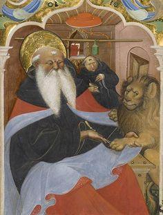 ライオンの肉球から刺を抜く聖ヒエロニムス。つぼです。うしろでびびってる修道士も。(15世紀半ば頃、ムラーノ・グラドゥアーレの画家 J.Pゲッティ美術館)