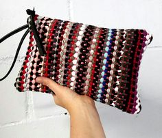 Multicolored rag rug clutch / Boho bag / Colorful clutch /