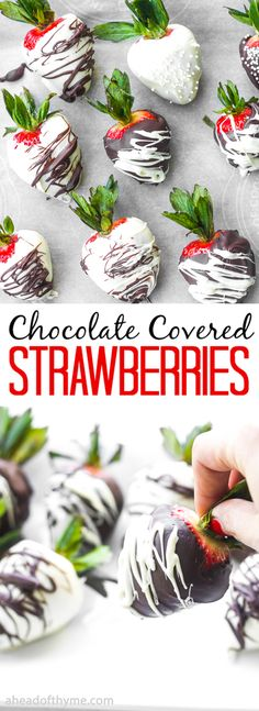 Chocolate Covered Strawberries: Nothing says romance better than chocolate covered strawberries. Celebrate love this year with these easy-to-make, decadent treats. | aheadofthyme.com