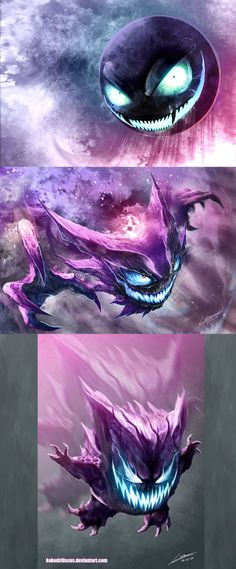 Gastly, Haunter and Gengar art (Dragolisco)