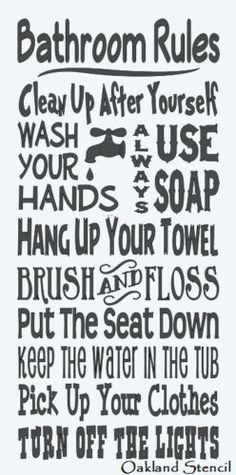 "Primitive Stencil**BATHROOM RULES**Typography Subway for Signs Large 12""x 24"""