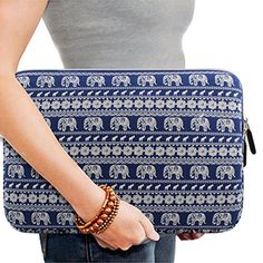 Kamor® 13 13.3 13.3'' 14 inch Bohemian Style Animal World (Elephant Blue) MacBook Air / MacBook Pro Canvas Fabric Sleeve Case Cover Shell - Superior Protection Laptop Sleeve Case Bag / Notebook Computer Case / Briefcase Carrying Bag / Ultrabook Laptop Bag Case / Pouch Cover / Skin Cover with 4.0mm thickness for MacBook Air/MacBook Pro Retina Display Sleeve, especially for teens/women/ladies design (Elephant Blue&white)