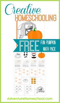 Creative Homeschooling: Free Fall Themed Math Pack #preschool #homeschool #pumpkin