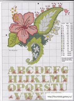 hibiscus alphabet cross stitch
