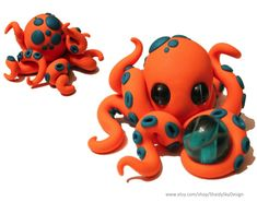 Polymer Clay Octopus with Orb Orange by ShaidySkyDesign.deviantart.com on @deviantART