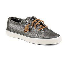 New Sperry Women's Seacoast Metallic Fashion Sneaker Pewter 7.5