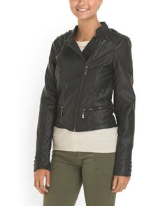image of Juniors Asymmetrical Faux Leather Front Zip Jacket