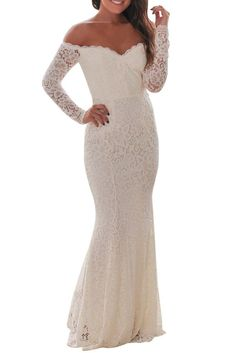 White Crochet Lace Off Shoulder Long Evening Party Dress $36.28 #White #HotSale #style #occasion