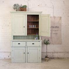 "Antique Pine Stepback Cabinet 77.5""h x 49.5""w x 19.5""d – refinished in custom Chalk Paint™ colour tinbarnmarket.com"