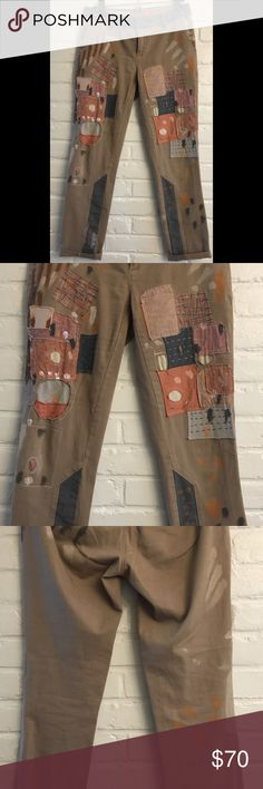 Khaki Patchwork Paint Splatter Pilcro Chinos Adorable chinos!! They are a size 26, US size 2. Anthropologie Pants