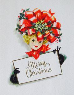 Merry Christmas. Retro Christmas Card. Christmas Bow. Vintage Christmas Card.