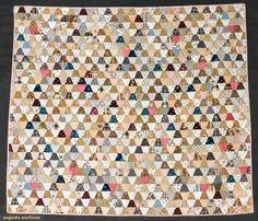"Tumbler Pieced Crib Quilt, 1870-1890,  40 x 45"", Augusta Auctions"