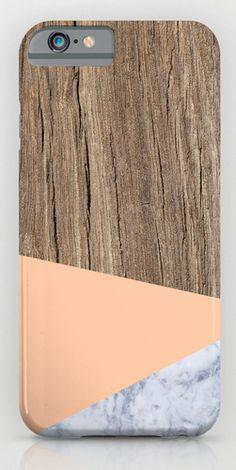 woodgrain + peach + marble phone case | Society6