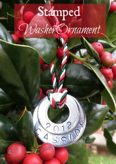 Stamped Washer Christmas Ornament - Sweet Pea