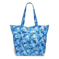 Hawaiian Honu Turtle Floral Deluxe Foldable Travel Tote Bag