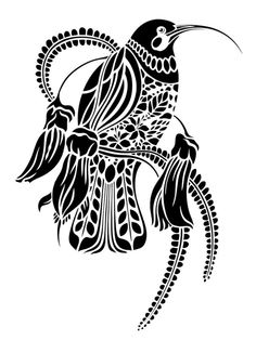 Tui - by Flox Maori Maori Patterns, Tui Bird, Bird Template, Maori Designs, Tattoo Designs, New Zealand Art, Nz Art, Maori Art, Kiwiana