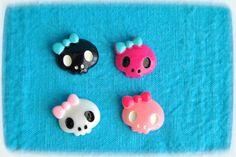 Kawaii skulls cabochons 4 pcs by BlytheinWonderland on Etsy, $3.50