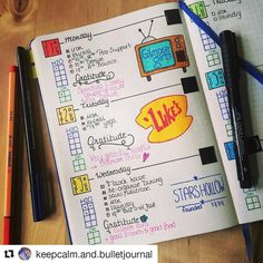 What's not to love about this Gilmore Girl themed spread with ・・・ Bullet Journal Junkies, Bullet Journal Inspiration, Gilmore Girls, Journal Layout, Journal Diary, School Calendar, Girl Themes, Diy For Girls, Things That Bounce