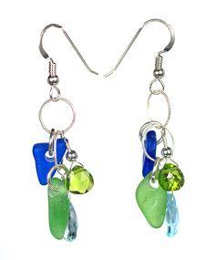 Stone Earrings, Drop Earrings, Bingo, Sea Glass, Cobalt, Pendant Necklace, Beach, Green, Jewelry