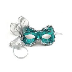 Turquoise Masquerade Masks with Feathers | Eye Mask from real Feathers, turquoise mask carnival-mask - Polyvore