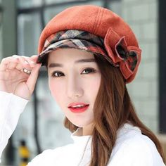 8219d0f2e9d Bow newsboy cap for women plaid winter wool hats outdoor wear Wool Hats